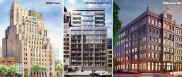 Stella Tower, Chelsea Green at 151 West 21st Street and the Schumacher at 36 Bleecker Street