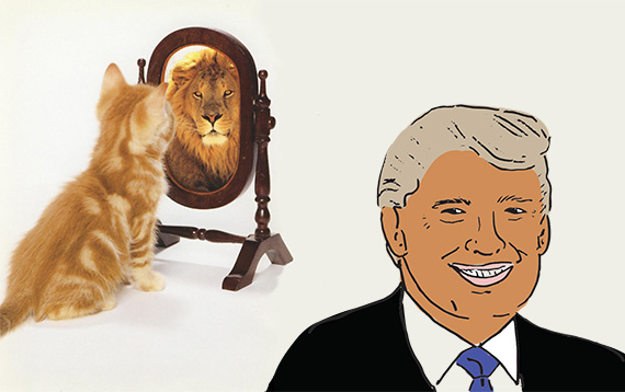 A cat seeing a lion and Donald Trump (illustration by Lexi Pilgrim for The Real Deal)