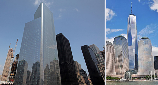 From left: Four World Trade Center and One World Trade Center