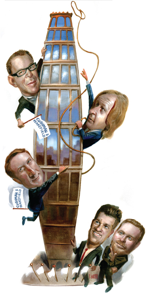 From top to bottom: Doug Harmon, Roy March, Adam Spies, Brett White and Bob Knakal (Illustration by Fred Harper)