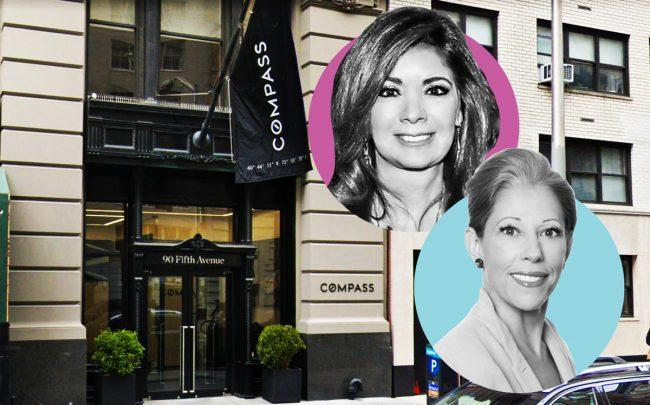 Adelaide Polsinelli and Robin Abrams of Compass with the Compass Global Headquarters at 90 Fifth Avenue (Credit: Google Maps)