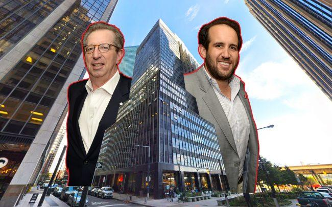 Rudin Management's Bill Rudin and Michael Rudin with 110 Wall Street (Credit: Getty Images and Google Maps)