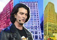 From left: 28 West 44th Street, 25 West 45th Streetand 183 Madison Avenue with WeWork CEO Adam Neumann (Credit: Google Maps, APF Properties, and Getty Images)