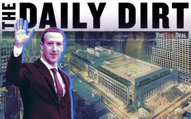 Facebook CEO Mark Zuckerberg and a rendering of the Farley Post Office building redevelopment (Credit: Getty Images, SOM)