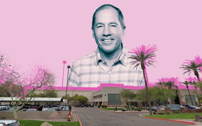 Katerra CEO Michael Marks and its factory in Pheonix, Arizona (Credit: Katerra, Google Maps)