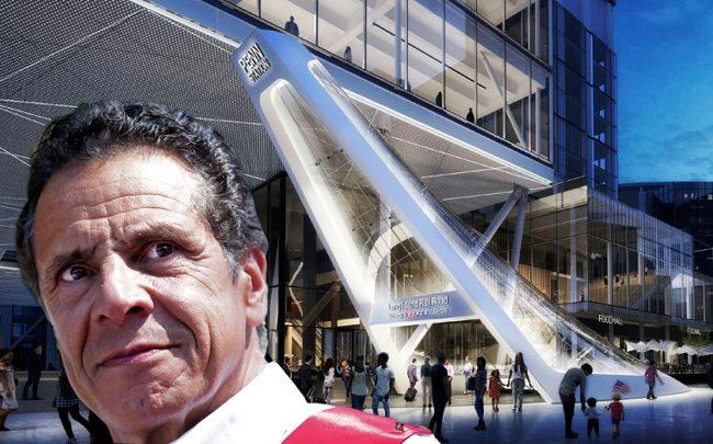 Gov. Andrew Cuomo and a rendering of Penn Station (Credit: Getty Images, Governor's Office)