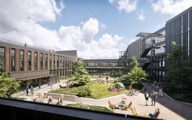 A rendering of the new REI headquarters in Seattle (Credit: NBBJ)