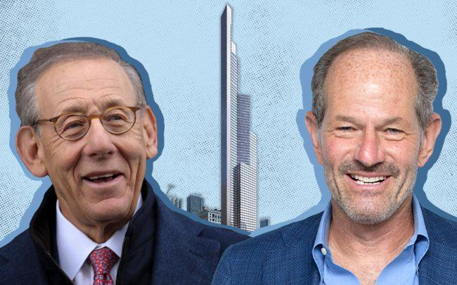 Steve Ross, Eliot Spitzer and a rendering of 451 10th Avenue (Credit: Getty Images)