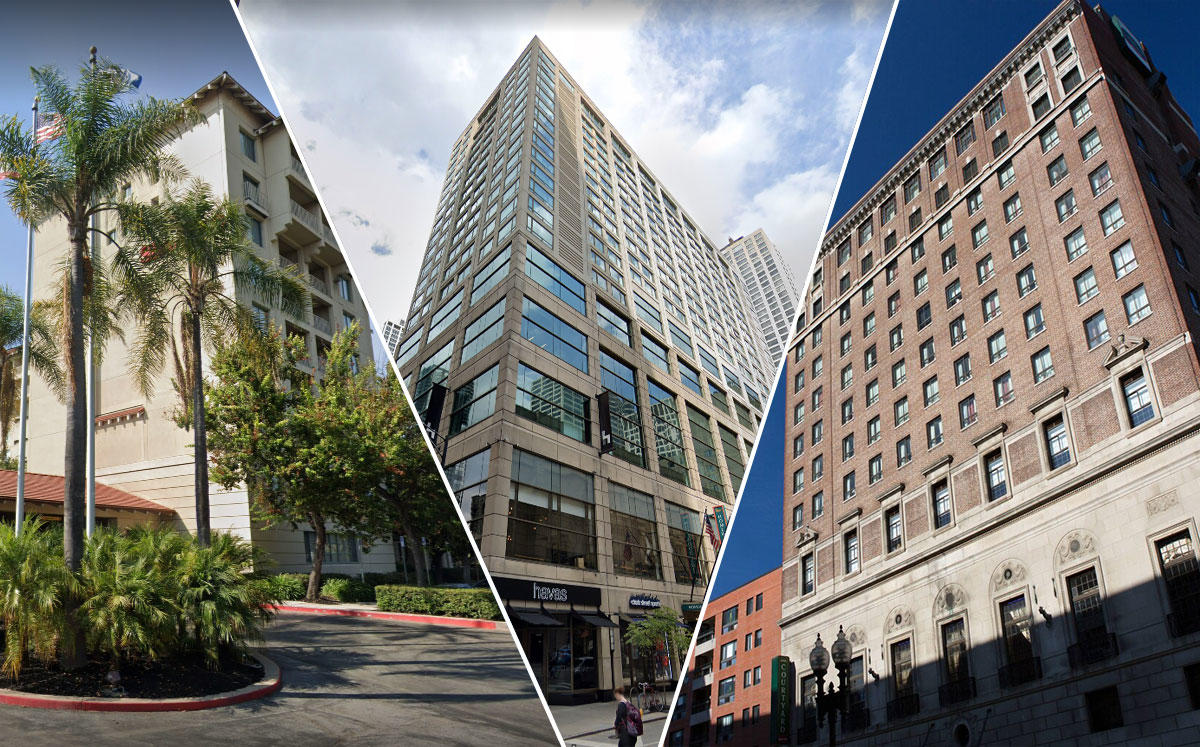 Courtyard by Marriott Boston Downtown. Homewood Suites Chicago and Sheraton San Jose Hotel (Credit: Google Maps)