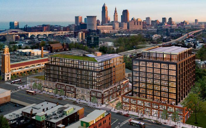 A mass timber project in Cleveland is now under construction and could be the nation's tallest when completed. Harbor Bay Real Estate Advisors' Intro development will rise nine stories with 298 residential units (Credit: Harbor Bay Real Estate Advisors)
