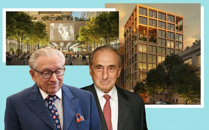Larry Silverstein of Silverstein Properties and George Kaufman of Kaufman Astoria Studios with renderings of the project (Getty, ODA)