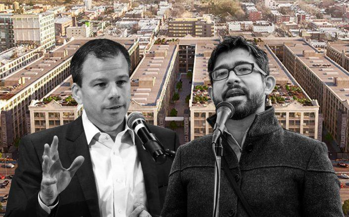 Andrew Kimball and Carlos Menchaca with Industry City (Getty) Rendering