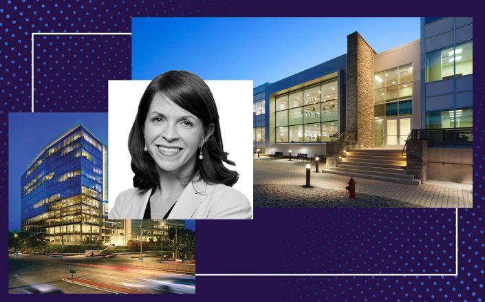 Blackstone's Kathleen McCarthy with 440 Saw Mill River Road, Ardsley, New York and 1000 Gateway Boulevard in San Francisco, California (left) (Blackstone; BioMed Realty)