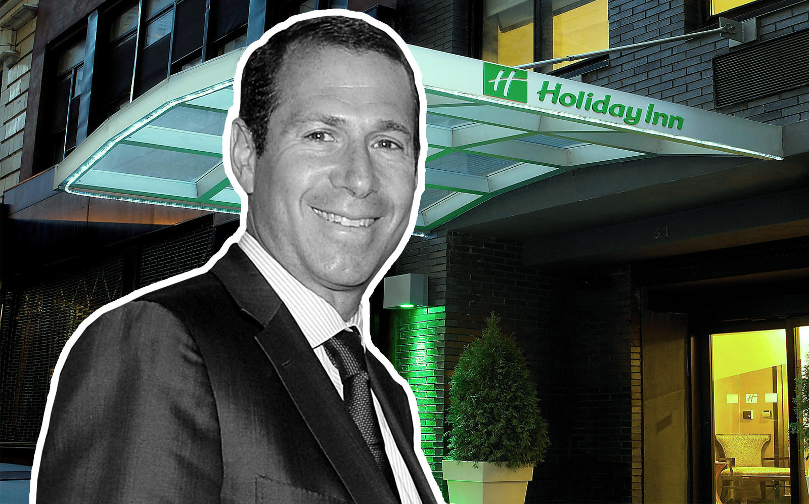 Mack Real Estate CEO Richard Mack and one of his new hotels at 51 Nassau Street (Getty, ING)