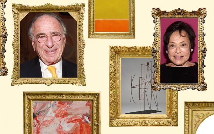Macklowe Properties CEO Harry Macklowe and Linda Macklowe with pieces from their art collection (Sotheby's, iStock, Getty)